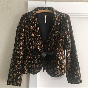 Free People Fitted Velvet Blazer w/Satin Ribbon